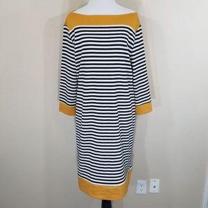 Isaac Mizrahi Black White Stripe Mustard Dress